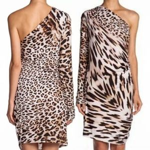Young Fabulous and broke leopard one shoulder dres
